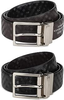 RausD NEWYORK Mens Belt-Leather Dress Belt for Male Classic Black & Reversible Brown side by RausD NewYork
