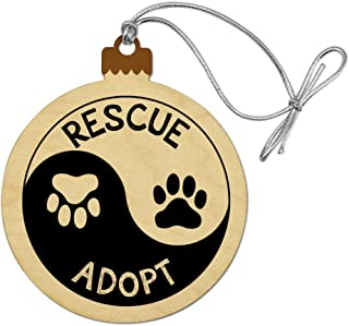 GRAPHICS & MORE Rescue Adopt Yin Yang Paw Prints Dogs Cats Wood Christmas Tree Holiday Ornament