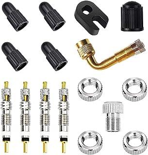 ユニバーサル仏式バルブコア交換セット、CTRICALVERフレンチバルブコア、ロック真ちゅう製バルブアダプターおよびプラスチックキャップセット、ロードおよびMTBバイク用(16個)