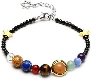 Pulsera de QGEM, con perlas de cristal del sistema solar (nueve planetas), cadena ajustable y colgante con un pentagrama