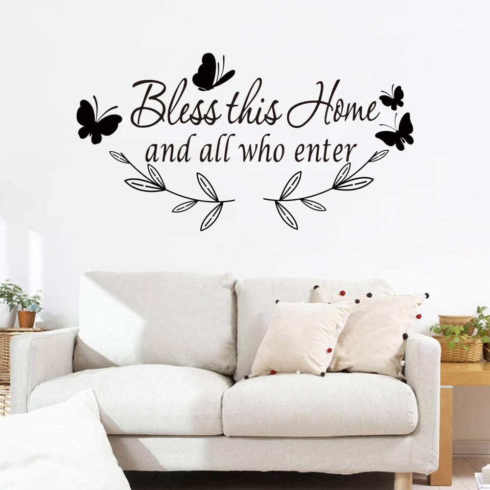 Summerjokes Bless This Home and All who Enter Wall Decoration Stickers Decal Funny Inspiring Vinyl Stickers, Family Romantic Living Room Kitchen Bedroom Photo Wall Entrance Art Wall Decoration