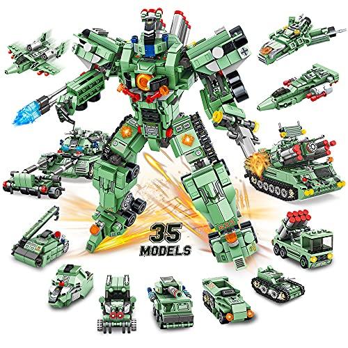 VATOS Roboter Bausteine Spielzeug Jungen ab 6 7 8 9 10 Jahren 832 Teile 35 in 1 kreative STEM Konstruktionsspielzeug Gebäude Lernspielzeug Technik Baukasten Pädagogisches Geschenk für Jungen Mädchen