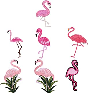 Amlrt 7 Different Styles of Flamingo Embroidery Badges Sewn on The Patch