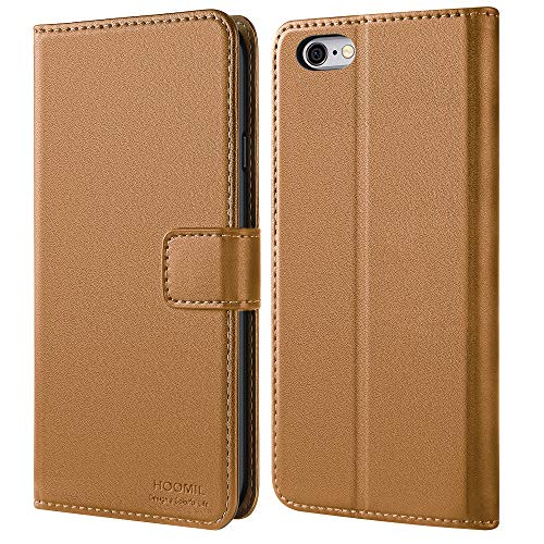 HOOMIL iPhone 6 Case,iPhone 6s Case,iPhone 6 Wallet Case,Premium Leather Folio iPhone 6s Wallet Case,Flip Cover with Full Body Protection,Stand,Card Slot and Cash Pocket for iPhone 6S/6(Light Brown)