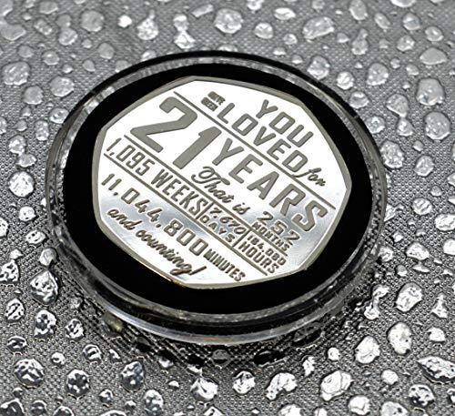 The Commemorative Coin Company 21st Birthday Silver Commemorative in Capsule. Gift/Present Congratulations/Party/Celebration/Ideas. Celebrating 21 Years