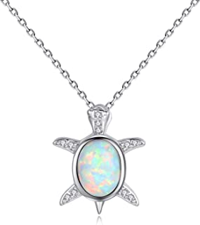 Gemshadow donne ragazze 925sterling Silver created Opal Baby Sea Turtle Necklace