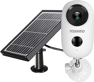 【ソーラーパネル付き・完全無線】 YESKAMO 防犯カメラ Wi-Fi バッテリーカメラ 屋外対応 130°超広角 双方向通話 省エネルギー PIR人体検知センサー 強力磁石式スタンド ネジ止め不要 角度調整可能 IP65防水 6000mAh高容量 長時間待機 携帯スマホ対応 ネットワークカメラ 1080P 200万画素 小型 充電式 動体検知 赤外線暗視 夜間撮影 ワイヤレス 監視カメラ 電池式 iOS/Androidで設定 アプリ警報 USB充電 太陽光パネル充電 2.4G wifi帯 (磁石スタンドと屋外用スタンド付きの丸型電池カメラ+ソーラーパネル)