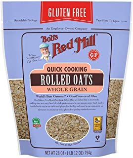 Bob's Red Mill Resealable Gluten Free Quick Cooking Rolled Oats, 28 Oz (4 Pack)