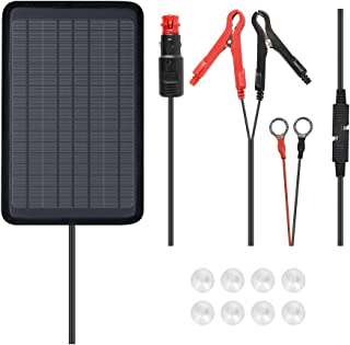 Renogy 5W 12V Portable Solar Panel Battery Maintainer Trickle Charger with Lighter Plug, Alligator Clips, and Battery Cables