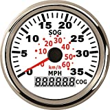 ELING Waterproof GPS Speedometer 0-35MPH Speedo Gauge for Marine with Backlight 3-3/8'' (85mm) 9-32V (LED Shows Course not Odometer)