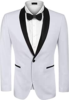 Men's Modern Tuxedo Jacket One Button Casual Suit Blazer Jacket for Dinner, Party, Wedding, Prom