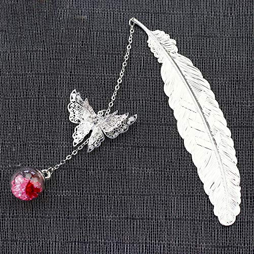 Metal Feather Bookmark Boxed Gifts for Women, Creative Bookmark with 3D Butterfly Glass Beads Eternal Dry Flower Pendant, Small Birthday Christmas Gifts for Reader Teacher Writer (Silver+Red Flower)