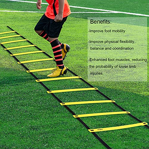 Ohuhu Agility Ladder, Speed Training Exercise Ladders for Soccer Football Boxing Footwork Sports Speed Agility Training with Carry Bag,15ft 12 Rung,Yellow