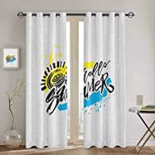 Hello Summer Room Darkened Curtain Grunge Style Speckled Brush Strokes with Motivational Handwritten Lettering Waterproof Fabric W52 x L63 Inch Multicolor