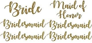 Wedding Iron On Transfers, Bride Iron on, Bridesmaid Iron on, Bride Tribe Iron on, Maid of Honor Iron on (Gold Glitter, Bride, Maid of Honor, 4 Bridesmaids)