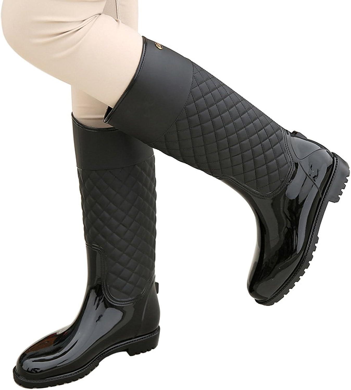Deesaly Women's High Calf Rain Boots Waterproof Jelly Garden Boot