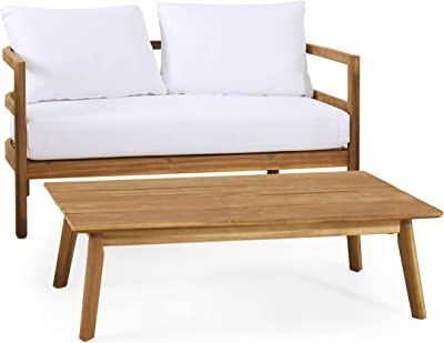 Christopher Knight Home 315614 Ellendale Loveseat and Coffee Table Set, White + Teak