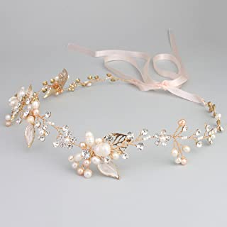 Oriamour Gold Bridal Crystal Headband with Freshwater Pearls Flower Design Wedding Hair Accessories