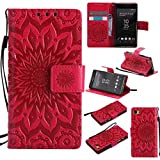 KKEIKO Hülle für Sony Xperia Z5 Compact (Mini), PU Leder Brieftasche Schutzhülle Klapphülle, Sun Blumen Design Stoßfest Handyhülle für Sony Xperia Z5 Compact (Mini) - Rot