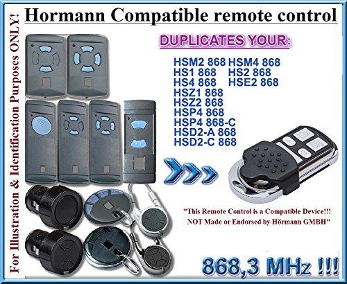 Hörmann HSM2, HSM4, HS1, HS4, HSE2 / HSD2, HSP4, HSZ1 / HSZ2 kompatible Fernbedienung, 4 Kanäle 868,3 MHz fixierter Code KLONE. Ersatzteil. Nicht kompatibel mit BS BiSecur Fernbedienungen