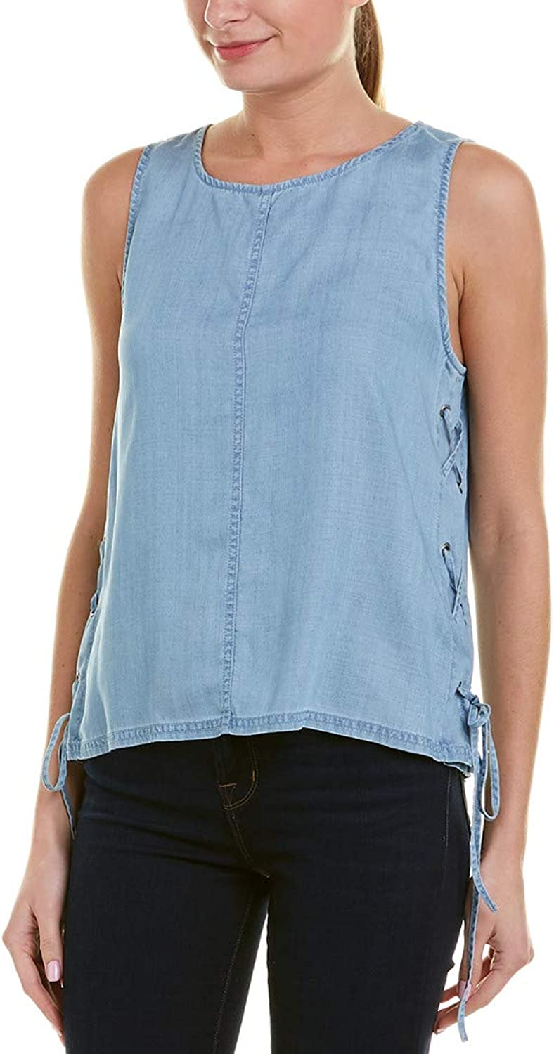 Two by Vince Camuto Women's Sleeveless Shirting Tencel Blouse with LaceUp Sides