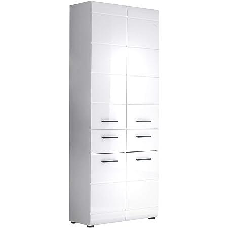 trendteam smart living Armoire Haute de Salle de Bain Schrank Skin 60 x 182 x 31 cm en Blanc Brillant avec Beaucoup d'Espace de Rangement
