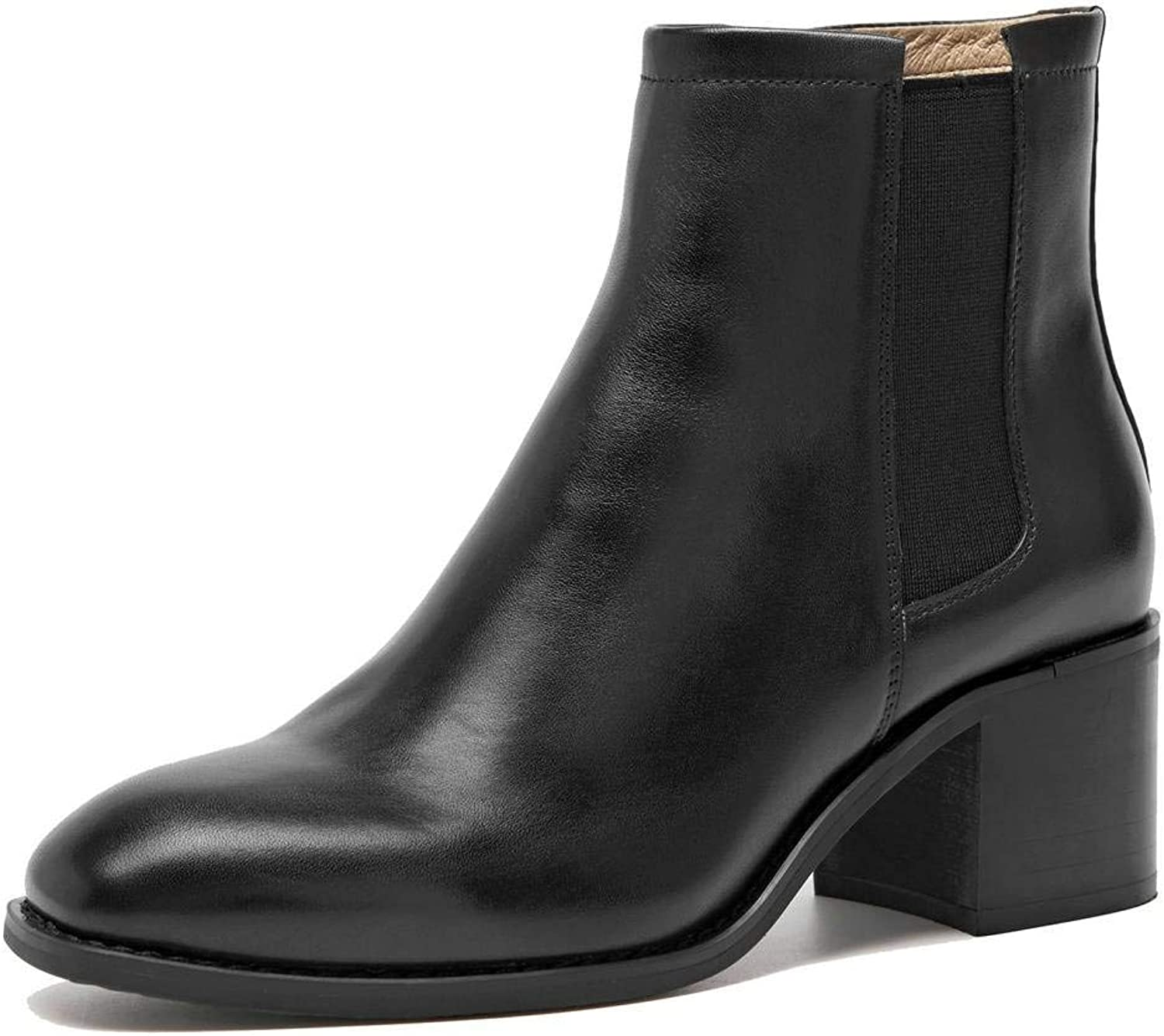 U-lite Womens Smooth Cowhide Block Heel Chelsea Ankle Boots, Pigskin Lining, Crushioned Footbed with Side Zipper