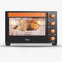 Mini Hornos 360 ° de rotación tenedor horno eléctrico negro, hogar 1500W cocción multi-función de horno eléctrico, 32L gran capacidad superior e inferior de control de temperatura independiente pequeñ