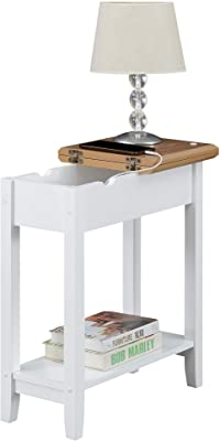Convenience Concepts American Heritage Flip Top End Table with Charging Station, Driftwood/White