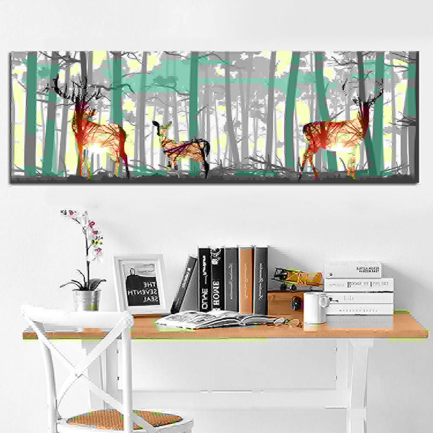 RQMQRL Abstract Deer Forest Bird Nordic Natural Art Print Picture Scandinavian Canvas Poster Wall Pictures For Living Room Home Decor