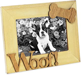 """Isaac Jacobs Natural Wood Sentiments Dog """"Woof!"""" Picture Frame, 4x6 inch, Photo Gift for Pet Dog, Puppy, Display on Tabletop, Desk (Natural)"""