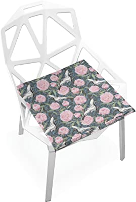 PLAO Seat Cushion Pad, Crane Birds Peony Flowers Cushions Seat Nonslip Chair Mats for Car