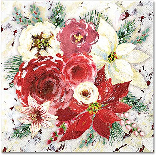 Punch Studio Christmas Kitchen Party Beverage Paper Napkins - Winter Roses