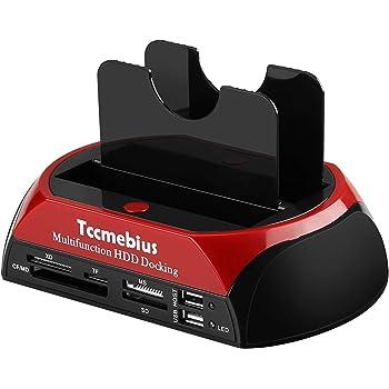 Tccmebius TCC-S862-DE USB 2.0 a SATA IDE Dual-Bay HDD Disco Rigido Docking Station con Lettore di Schede e USB 2.0 Hub per 2.5 3.5 Pollice IDE SATA I / II / III HDD SSD
