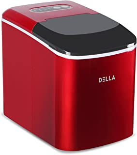 DELLA 048-IM-D26-RD Portable Electric Ice Maker Machine 26 lbs per Day Cubes Making with Scoop, Red, One Size,