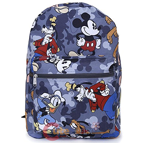 Disney Mickey Mouse Friends Large Travel Backpack All Over Prints Bag Grey