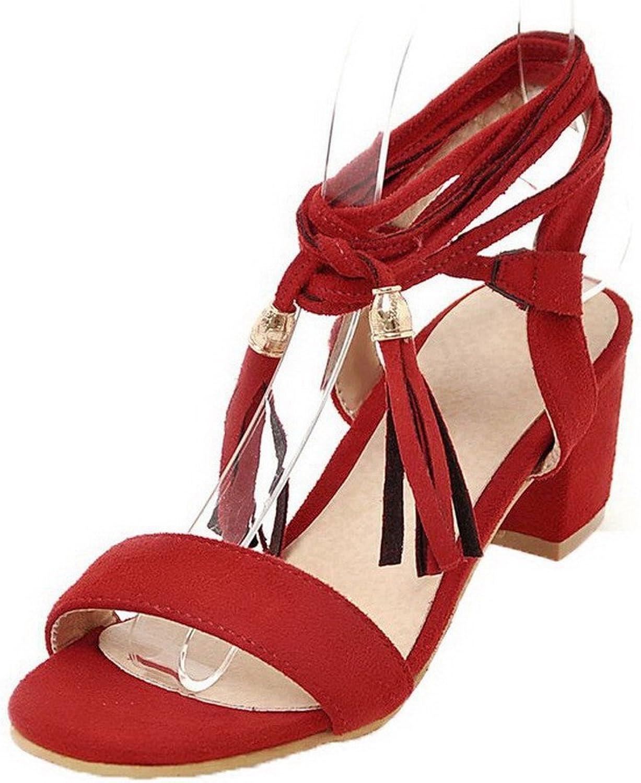 WeiPoot Women's Solid Lace-up Open Toe Kitten-Heels Sandals, EGHLH004736