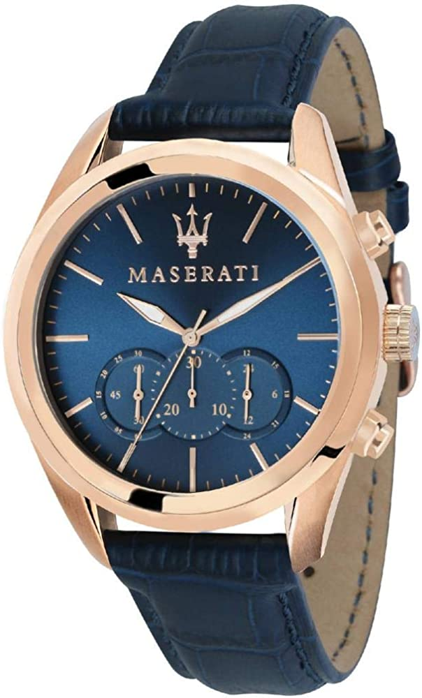 Maserati orologio da uomo, collezione traguardo cronografo, in acciaio, pvd oro rosa e cuoio 8033288766926