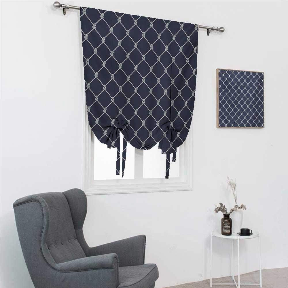 GugeABC Roman Shades for Windows Navy Blue Bathroom Curtain Tie