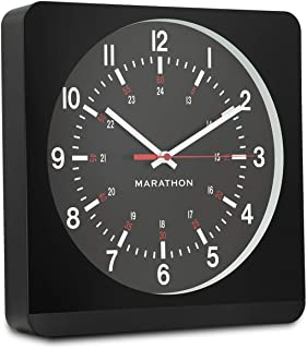 Marathon Silent Non-Ticking Analog Wall Clock with Warm Amber Auto Back Light. Easy to Read Classic Dial with 12 and 24-Hour Scale - Batteries Included - CL030057BK-BK1 (Black Case/Black Dial)