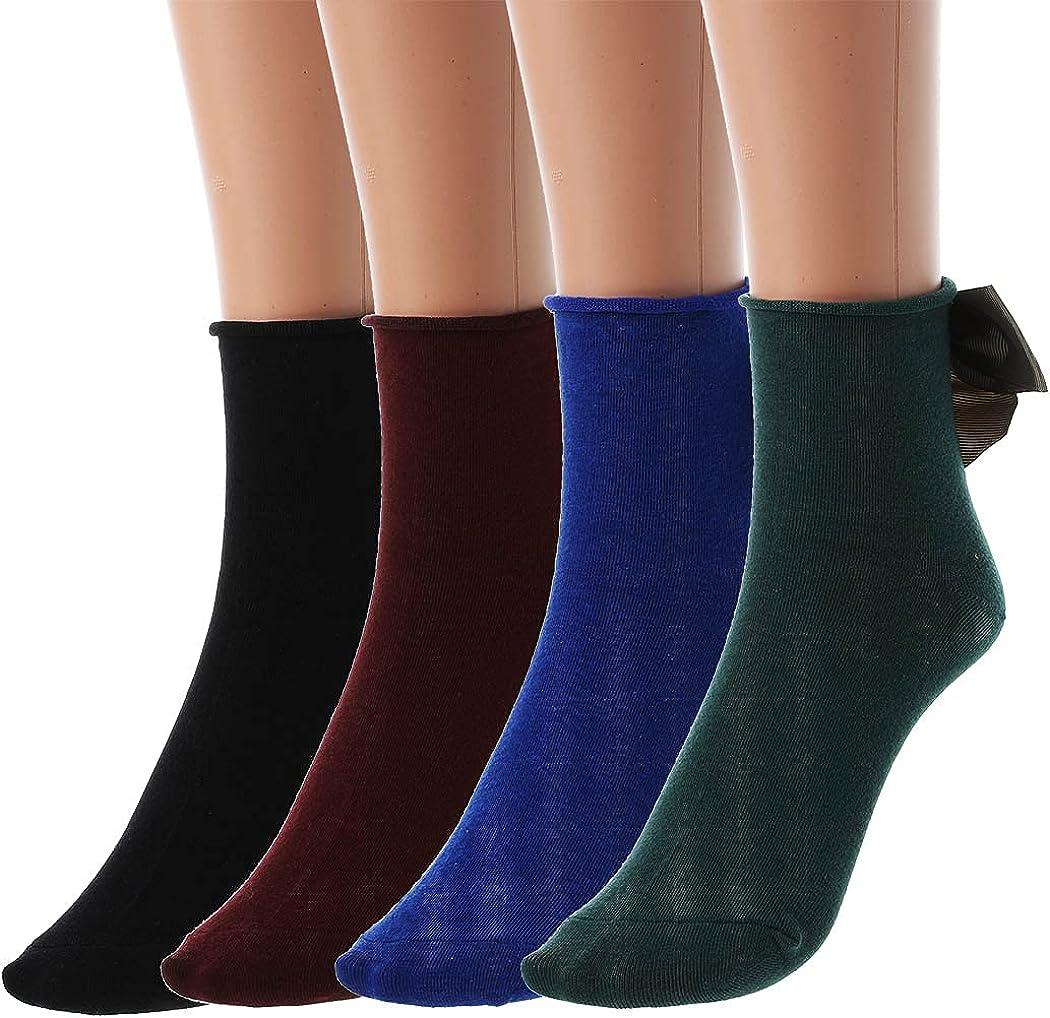 Yokawe Womens Ankle Casual Socks Ruffle and Satin Bow Anklet Socks Knit Cotton Lettuce Socks for Women Girls(Pack of 4)