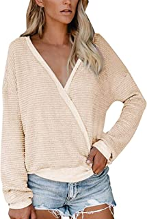JMETRIE Women's Wrap V Neck Sweater Knit Baggy Batwing Oversized Casual Long Sleeve Tops