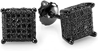 0.50 Carat (ctw) Dice Shape Ice Cube Mens Hip Hop Iced Stud Earrings 1/2 CT, Sterling Silver