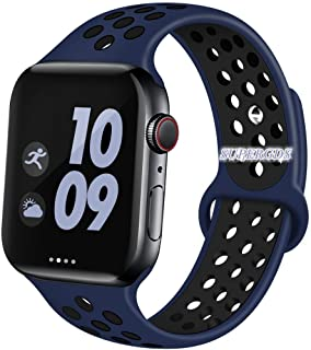 For apple watch バンド, コンパチブルiWatch 38mm/40mm通用ベルト, バンド Compatible For Apple Watch バンド, シリカゲルバンド スポーツシリコンストラップリストバンド交換バンド柔らか運動型 Series 5/4/3/2/1 (38mm/40mm, ブルー/黒)
