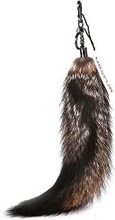 URSFUR Fluffy Sesamum Fox Tail Fur Key Chain Handbag Accessory Tassel Pendant