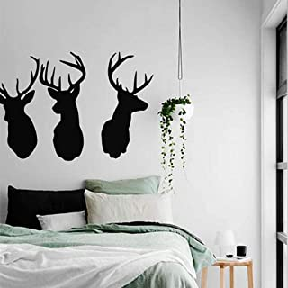 Deer Heads Wall Stickers Decal Living Room Decor Art Animal Decoration Wall Vinyl Stickers Home Decor Mural (Black)