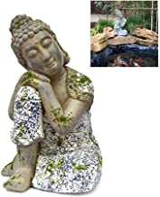 Zen Clay Sitting Buddha Statue, Chinese Blue and White Porcelain Handmade Sculpture Figurine, Landscape Decoration for Ter...