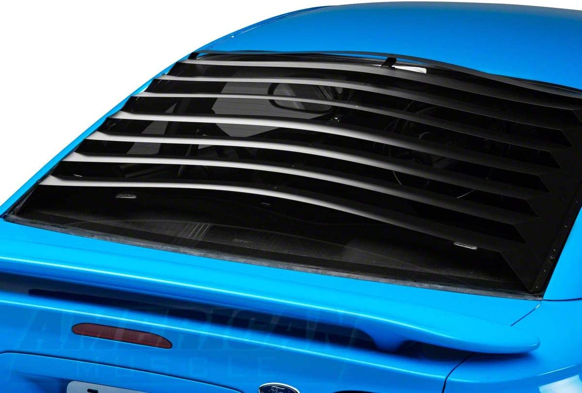 SpeedForm Quarter Window Louvers; Textured Carbon Appearance for Ford Mustang 2005-2009