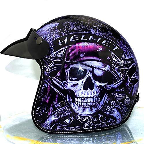 LP Retro Helm Vier Jahreszeiten Retro Helm 4/3 Retro Motorradhelme Fluch der Karibik