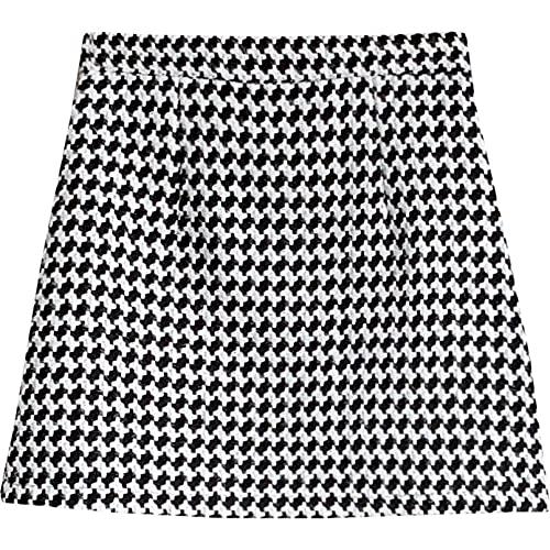 MWLSW Falda Delgada y Elegante para Mujer Falda Tenis Patinadora Plisada Cintura Alta Corta Coreana Falda Pata Gallo para Mujer Falda Pata Gallo Cintura Alta para Mujer-XL